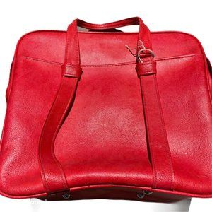 Samsonite vintage luggage zip up red pockets